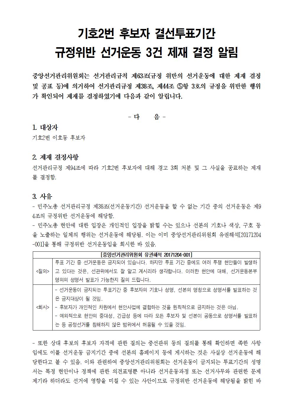 기호2번 후보자 결선투표기간 규정위반 선거운동 3건 제재 결정 알림001.png